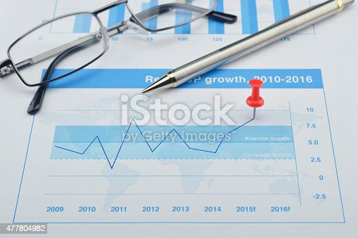 istock Red pin and pin on financial graph, Target and win concept 477804982