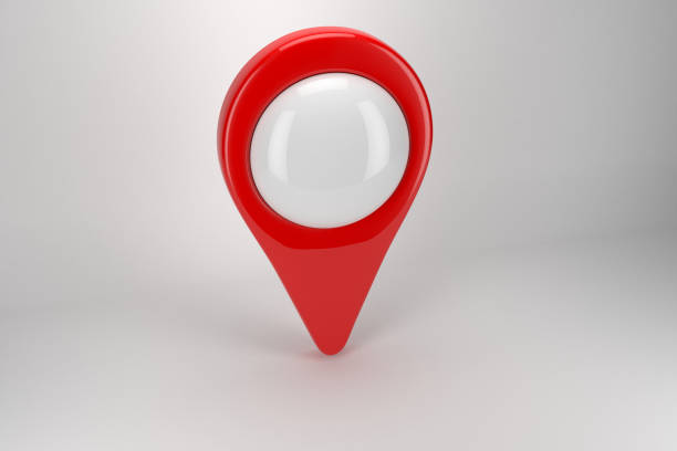 Red Pin Icon On White With Clipping Path stock photo