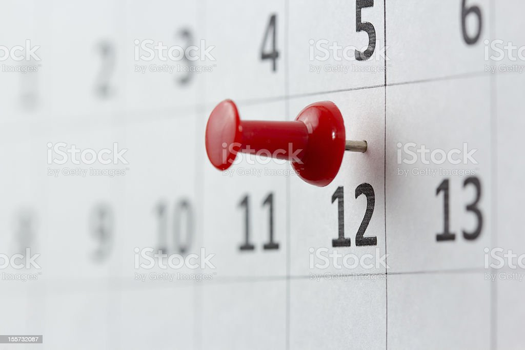 A red pin on the 12th of the month - Royalty-free Calendar Stock Photo