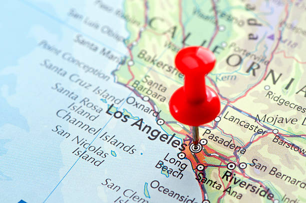 "Red pin pointed on the Los Angeles map Focus on Los Angeles on the Map. Source: ""World reference atlas"" california map stock pictures, royalty-free photos & images"