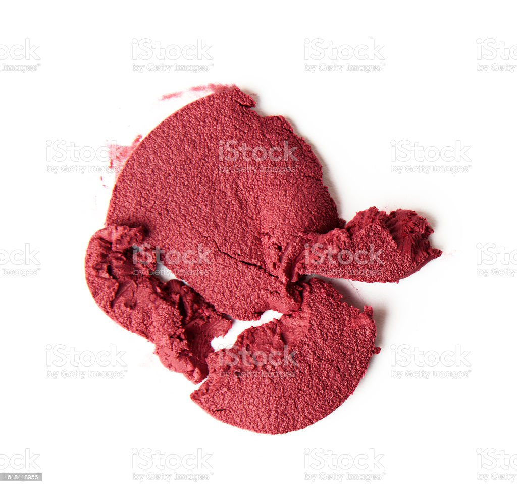 red pink creamy blush on white background stock photo