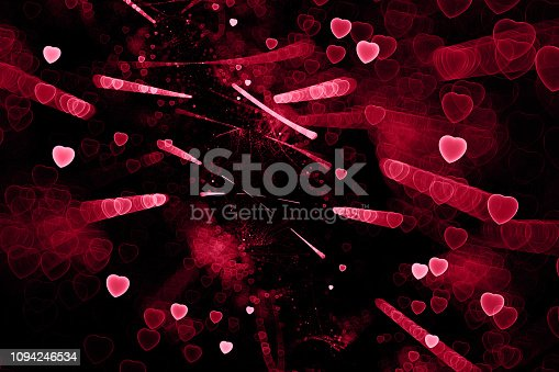 908708148 istock photo Red Pink Maroon Hearts on Black background Valentine's, Sweetest Day Love Neon Multi Colored Abstract Firework Pattern Fractal Fine Art 1094246534