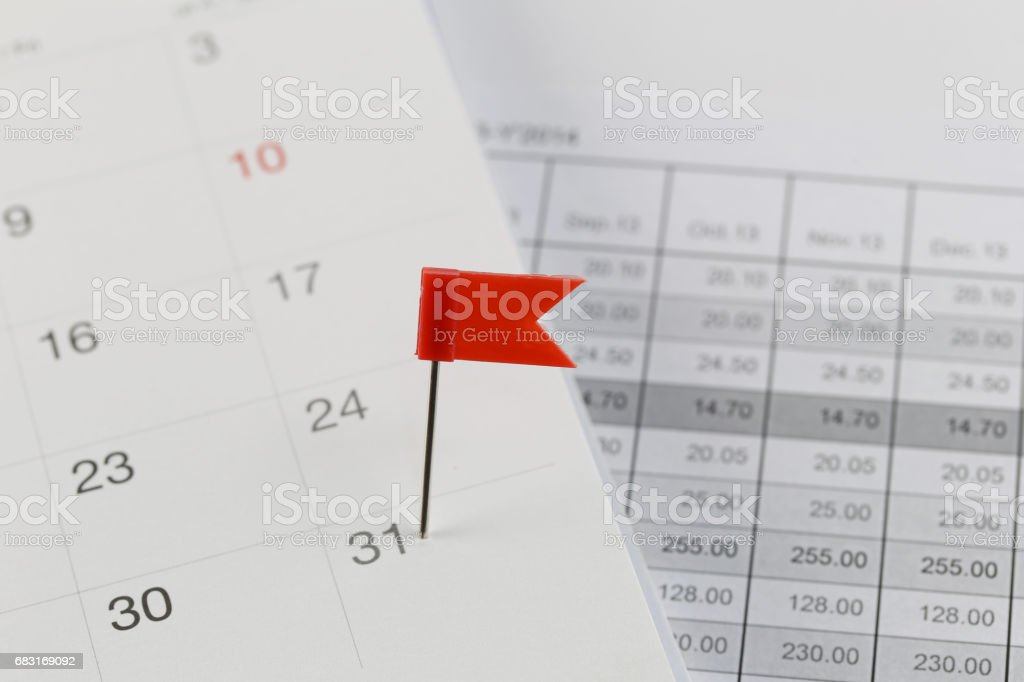 Red Pins to Wildcats on the calendar. foto de stock royalty-free