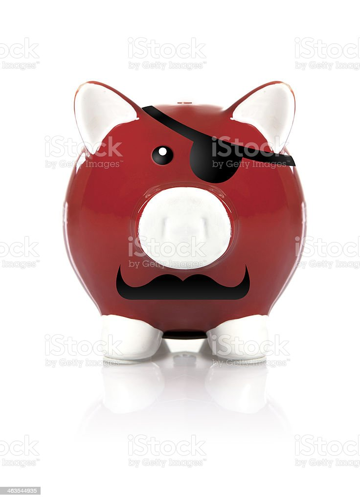 Red Pirate Piggy Bank stock photo