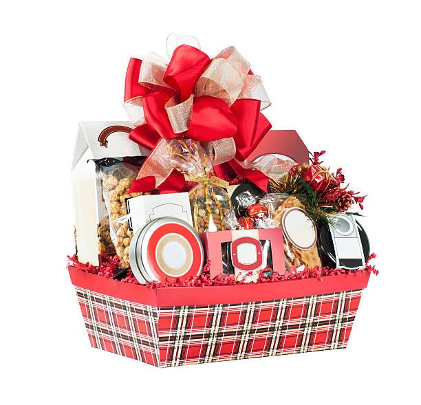 xadrez vermelha cesta de presente de natal - cesta - fotografias e filmes do acervo