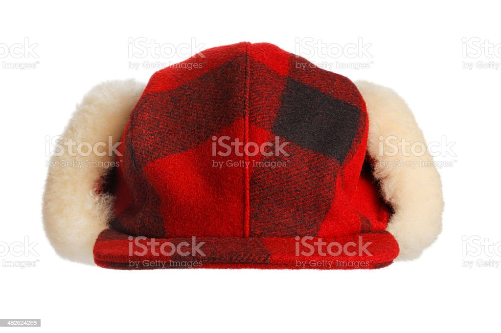 Red Plaid Hunter's Cap stock photo
