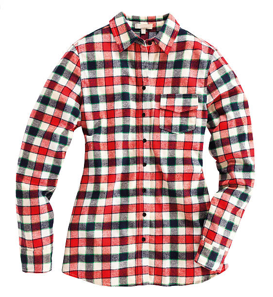 Red plaid shirt Checkered shirt isolated on white background plaid shirt stock pictures, royalty-free photos & images