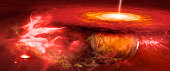 red planet in the nebula that is struck by lightning, illustration