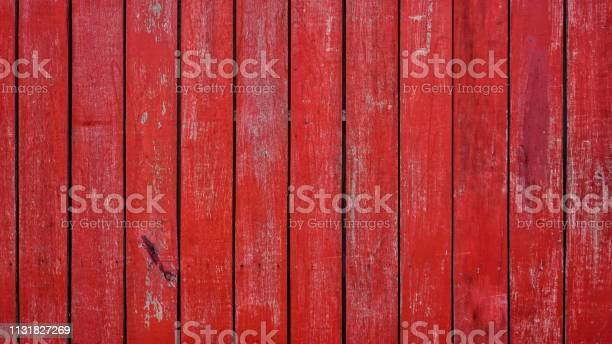Photo of Red planks wall texture background