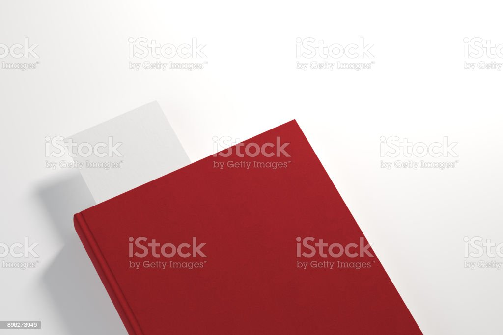 Red planner with white bookmark stock photo