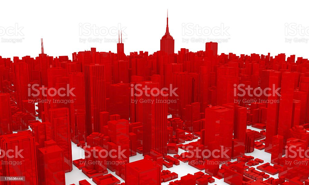 Red Plastic 3D City Skyscrapers NYC stock photo