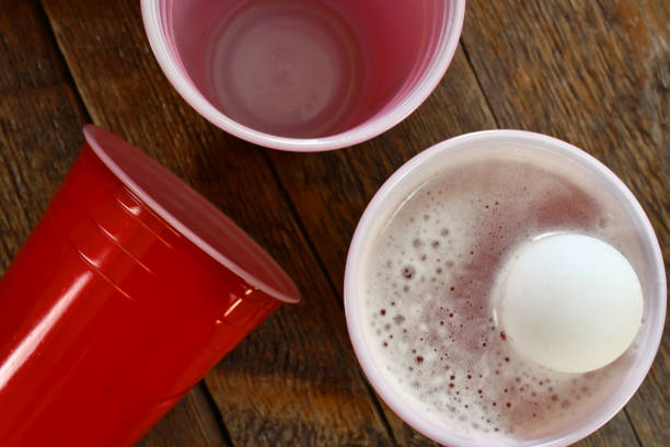 Red Plastic Beer Cups stock photo