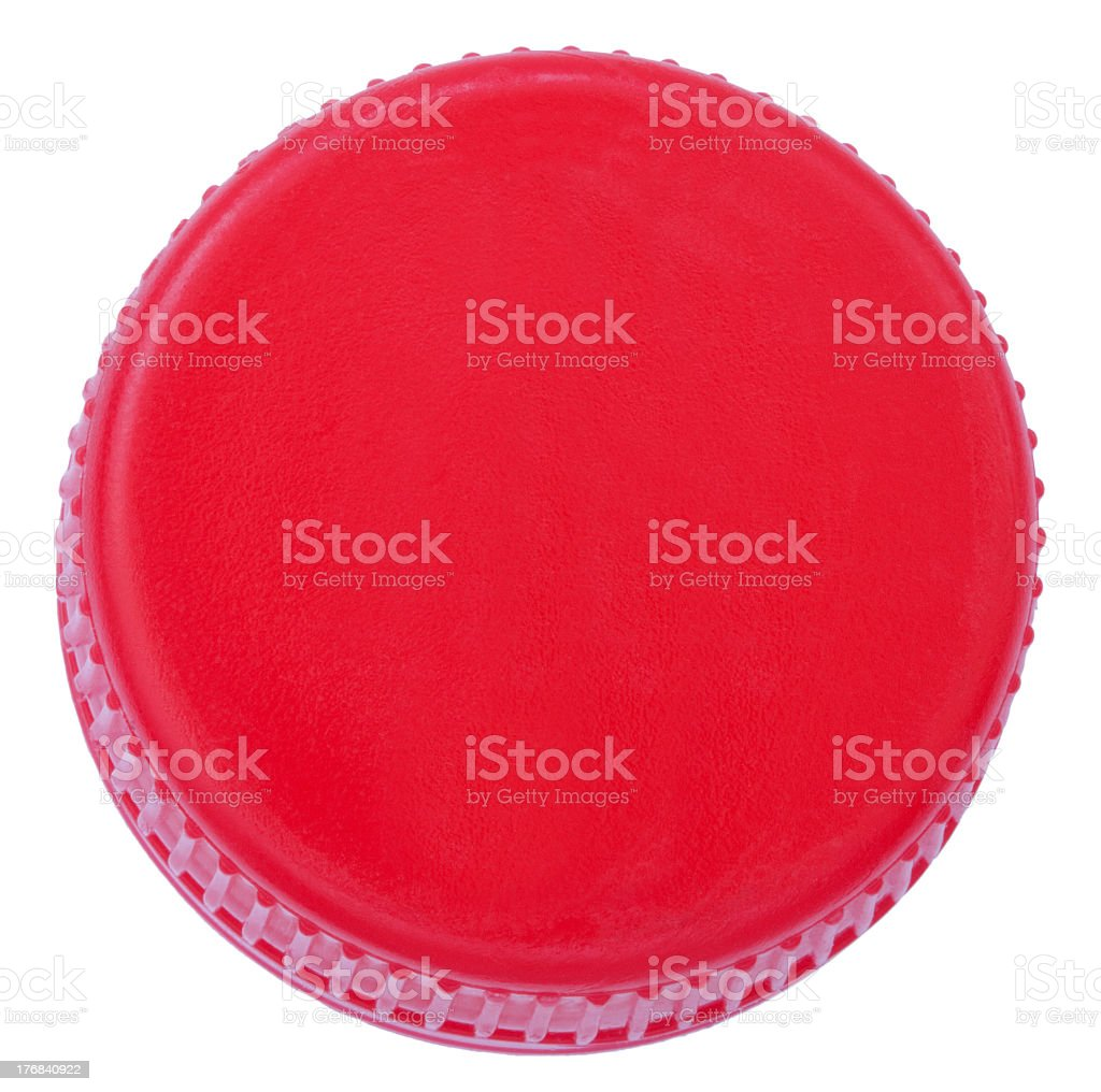 Red plastic bottle cap on white background stock photo