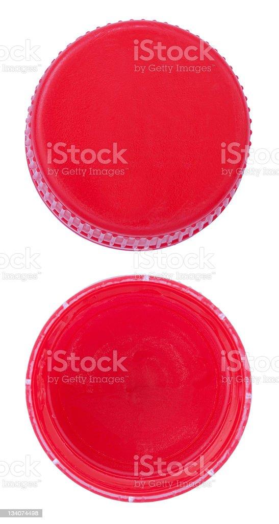Red Plastic Bottle Caps stock photo