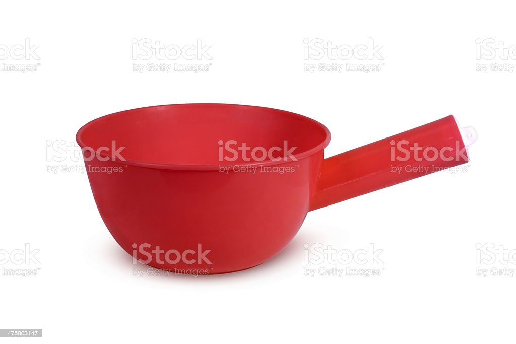 Red plastic bowl for water isolated on white stock photo