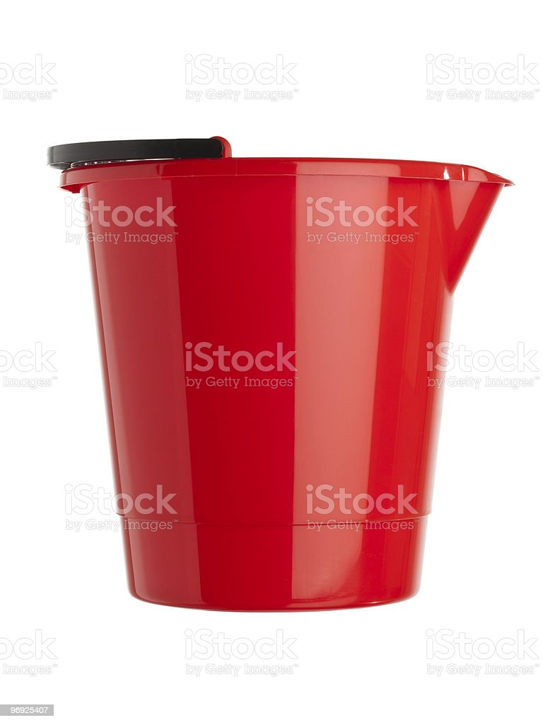 red plastic bucket isolated royalty-free stock photo
