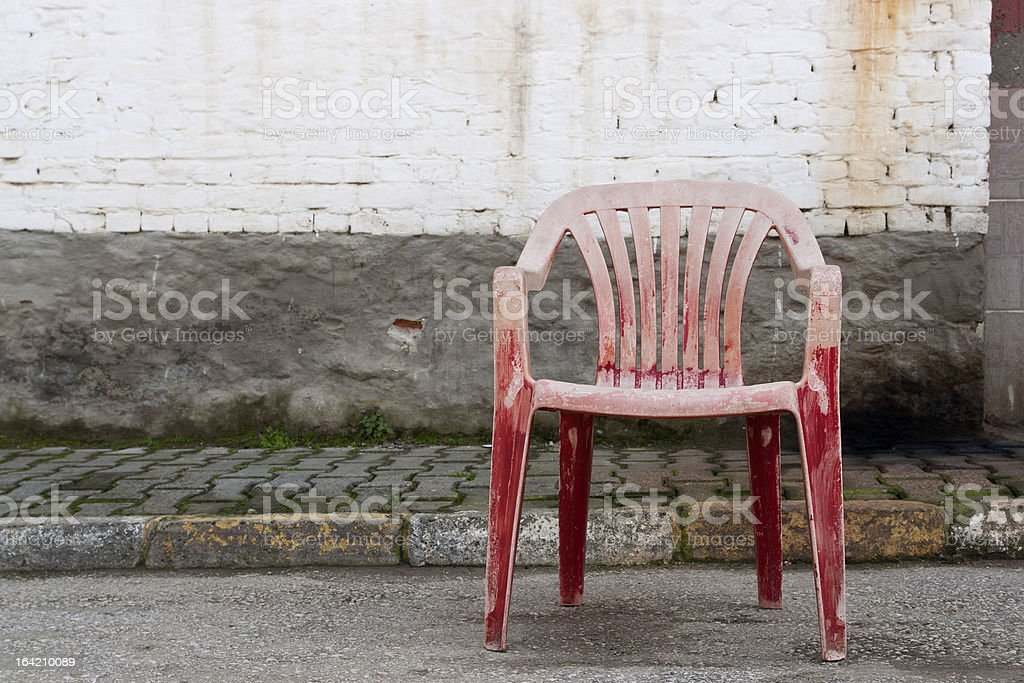 Red plastic chair royalty-free stock photo
