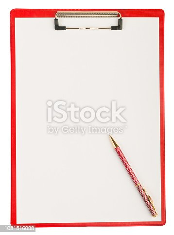 524051315istockphoto Red plastic clipboard with a pen isolated on white 1081516038