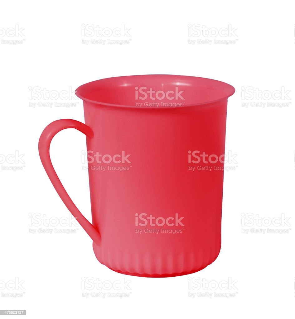 Red plastic cup isolated in a white background stock photo