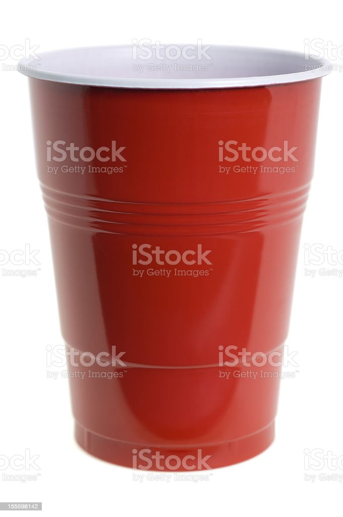 Red plastic cup on white background stock photo