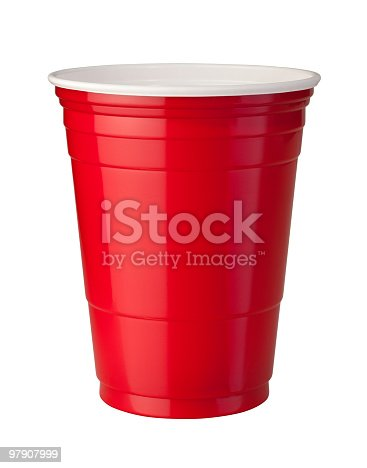 Red plastic party cup shown with shiny reflective highlight. This container is popular at parties because it is strong and disposable. The image is isolated on a white background, and includes a clipping path.