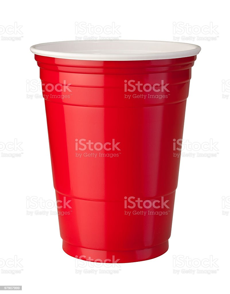 Red Plastic Cup (clipping path) stock photo