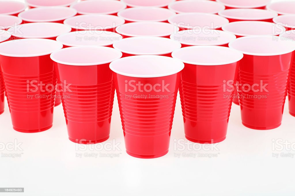 Red plastic cups set up in an organized pattern stock photo