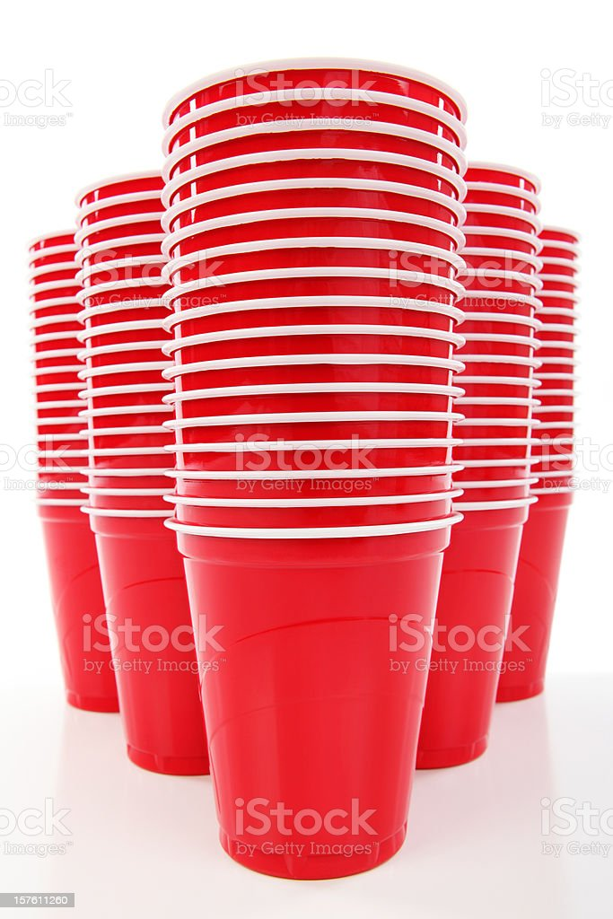 Red Plastic Disposable Cups royalty-free stock photo