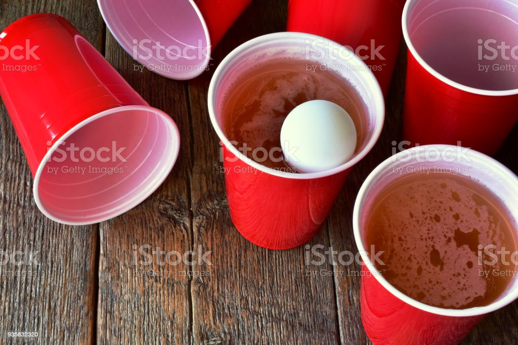 Red Plastic Drinking Cups stock photo