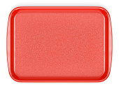 Red plastic food tray