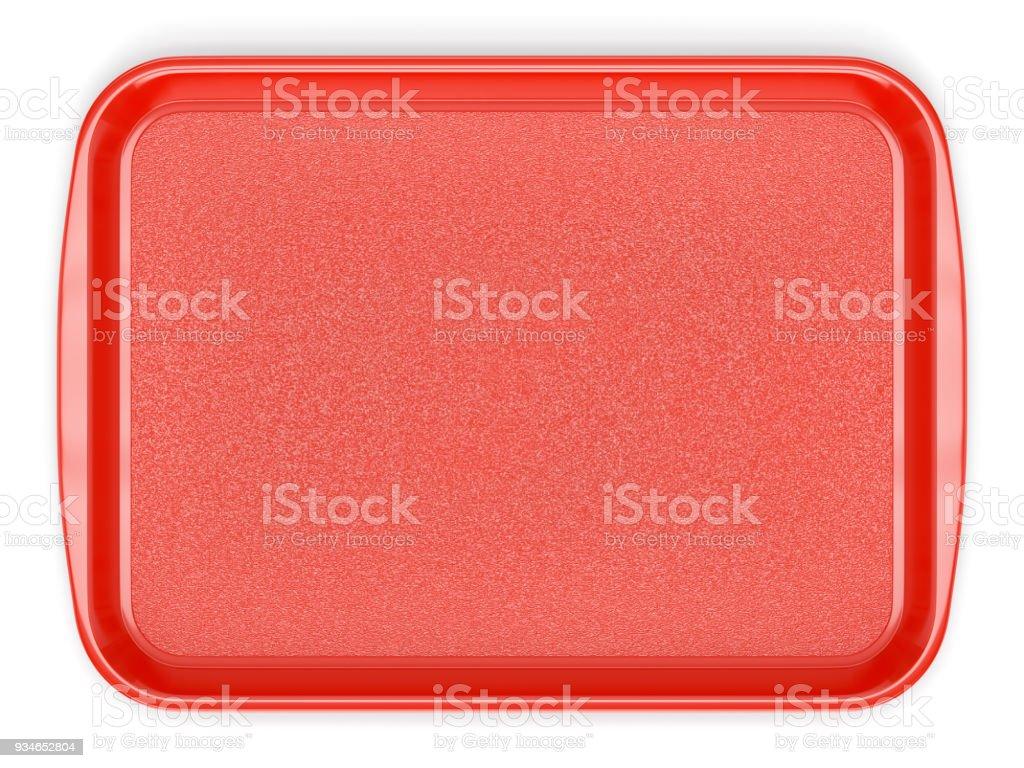 Bandeja de comida de plástico vermelho - foto de acervo