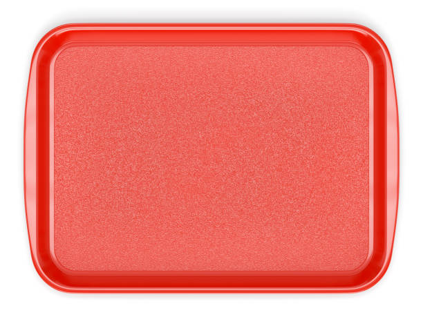 Red plastic food tray stock photo