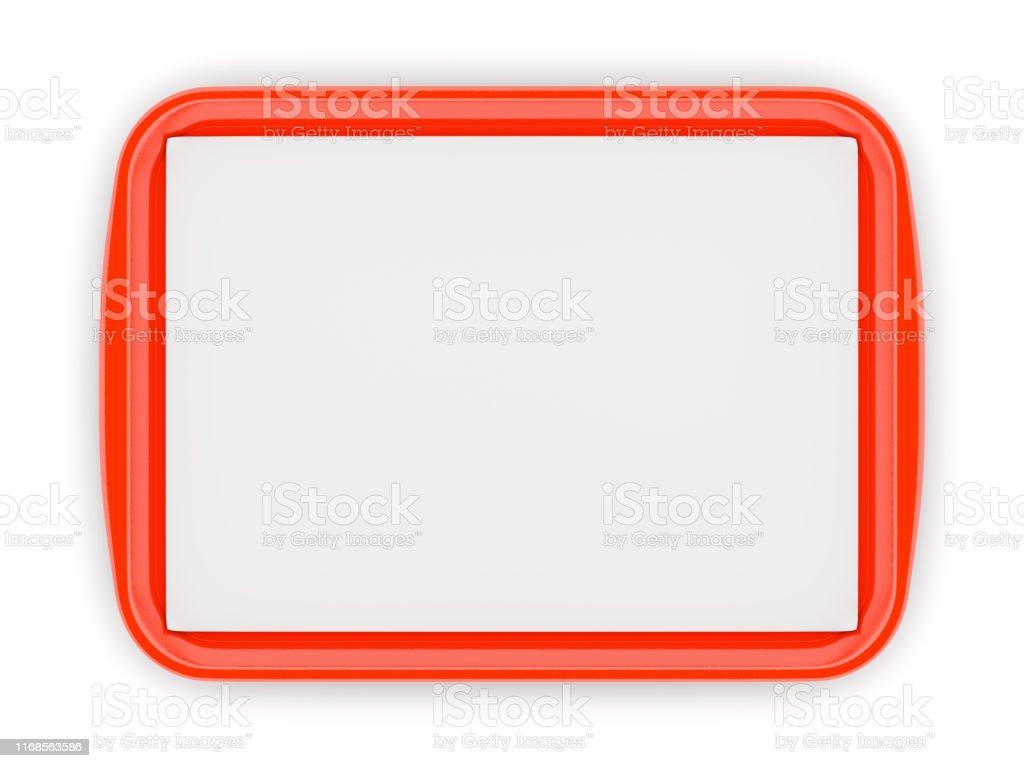 Rode plastic voedsel tray met lege liner - Royalty-free Activiteit - Bewegen Stockfoto