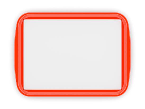 rode plastic voedsel tray met lege liner - schotel stockfoto's en -beelden