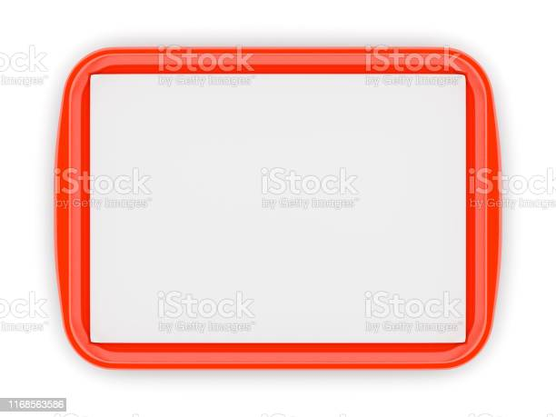 Rode Plastic Voedsel Tray Met Lege Liner Stockfoto en meer beelden van Activiteit - Bewegen