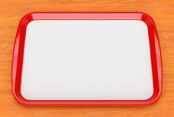 Red plastic food tray with empty liner stock photo