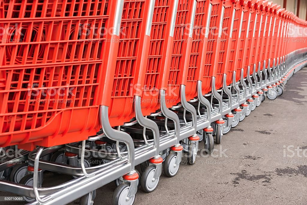 red plastic fragments of a baskets-carts for goods stock photo