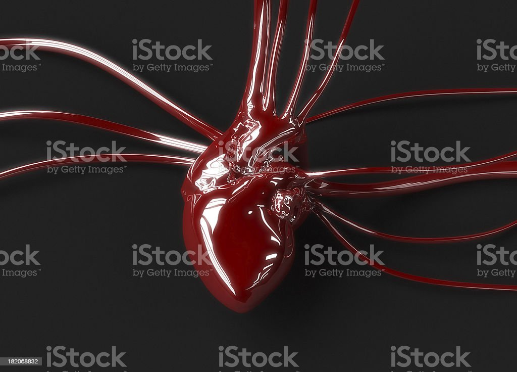 Red plastic heart stock photo