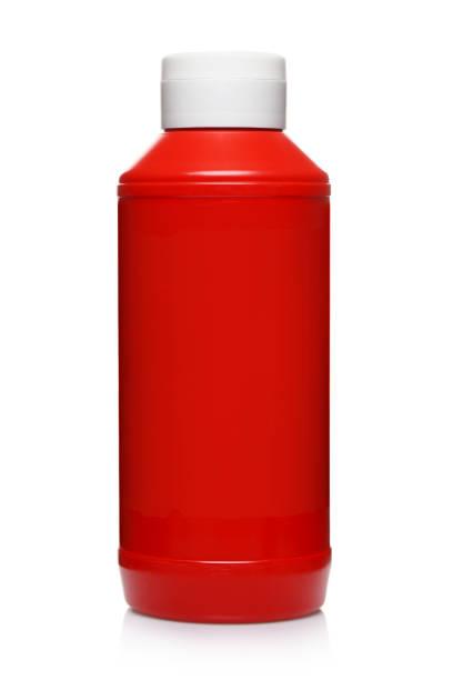 garrafa de ketchup de plástico vermelho em branco - squeeze bottle - fotografias e filmes do acervo