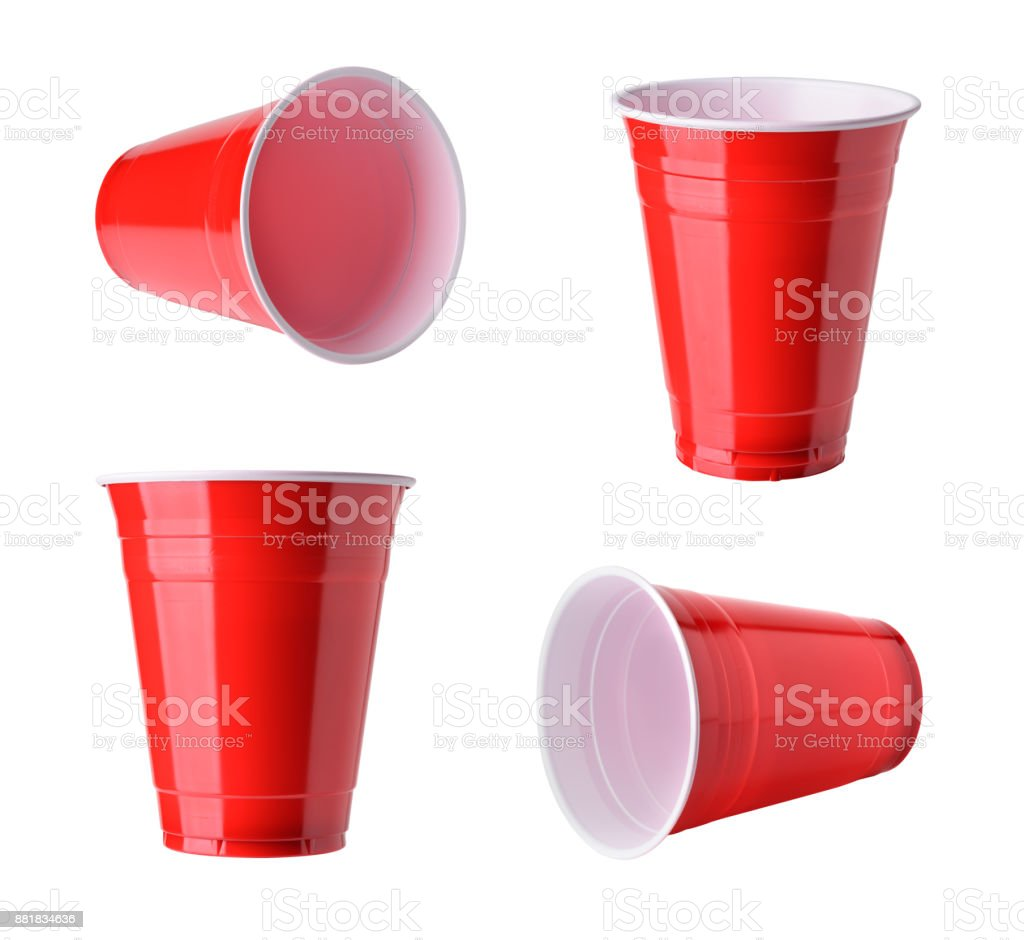 Red plastic party cups set, isolated on white background stock photo