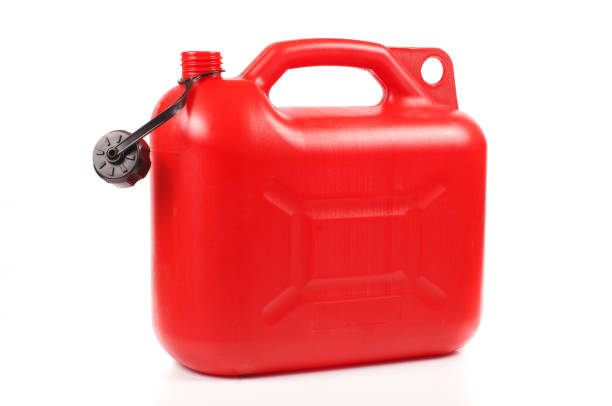 Red plastic petrol canister stock photo