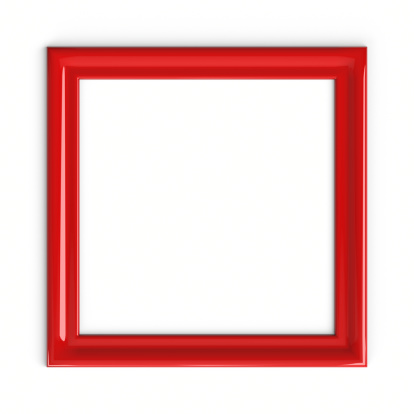 Red Plastic Picture Frame On White Wall. Art Serie. 3D Render.