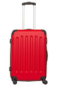 Red plastic suitcase isolated on white background