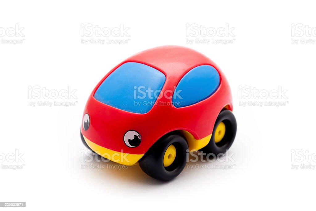 red plastic toy car stock photo
