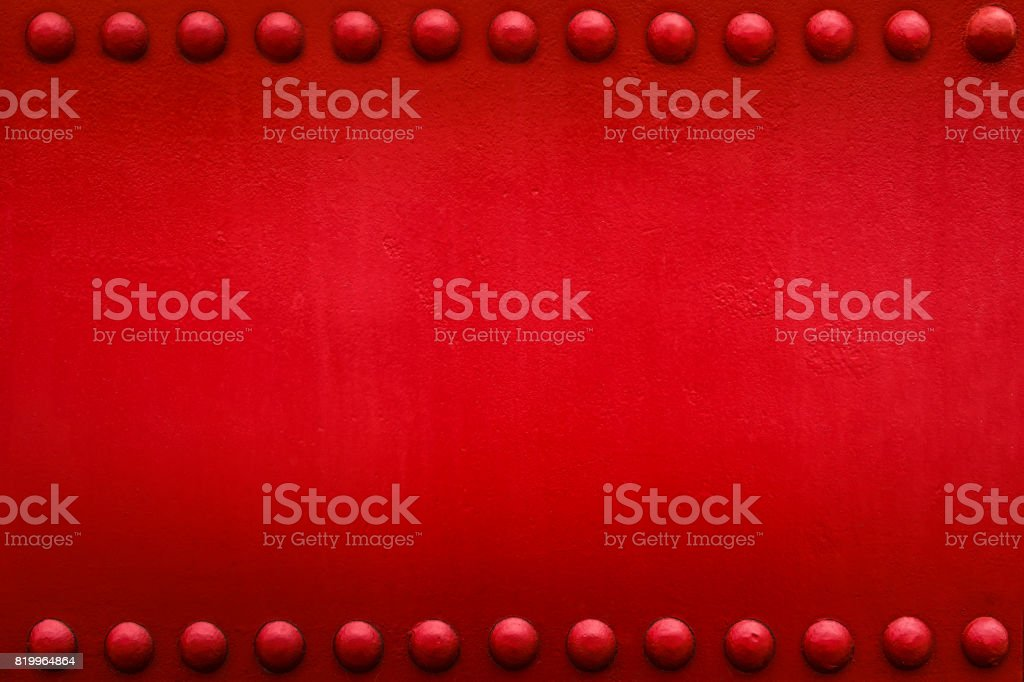 red plate big rivets 1 stock photo