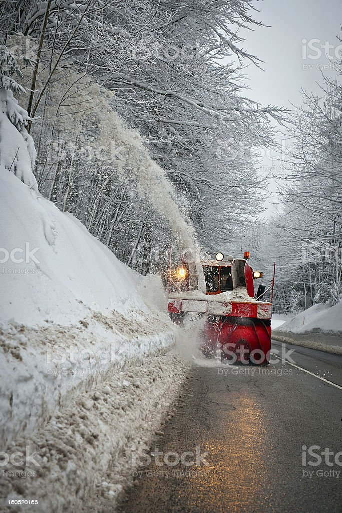 Red Plow Truck Removing Snow Slovenia Europe royalty-free stock photo