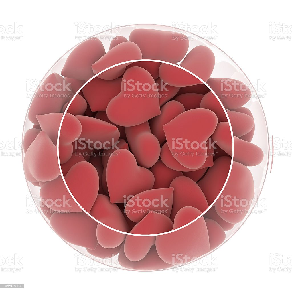 red plush hearts in glass vaze stock photo