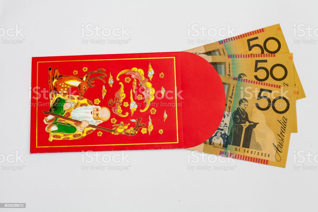 Red Pocket with Australian Money inside stock photo