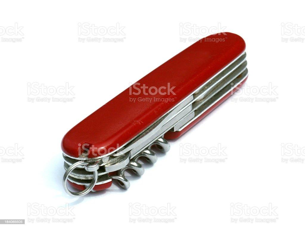 Red pocketknife isolated on white stock photo