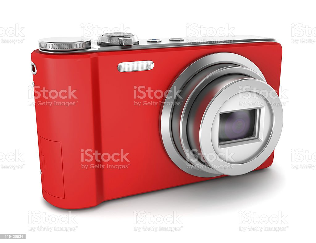 red point and shoot photo camera isolated on white background stock photo